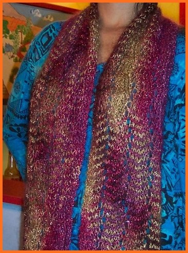 lacy zigzag scarf on person
