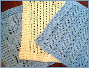 dishcloth in 3 lacy knitting patterns