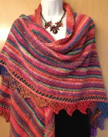 Big Triangle Shawl With Lacy Edge - Knitting Pattern For Everyone