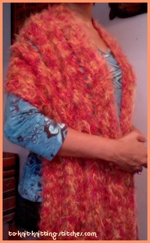 knitted big chevron scarf