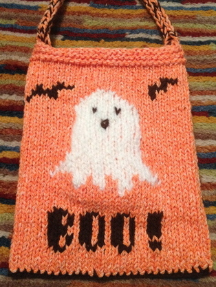 Halloween candy bag knitting pattern