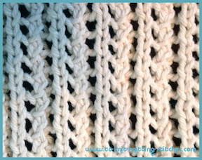 dishcloth knitted in a single lace rib pattern