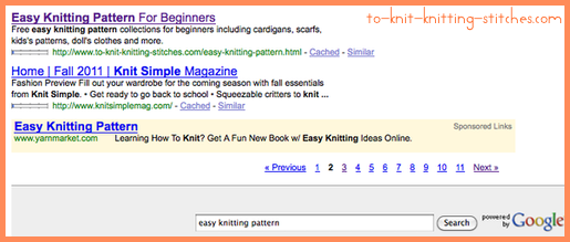 easy knitting pattern google search rank