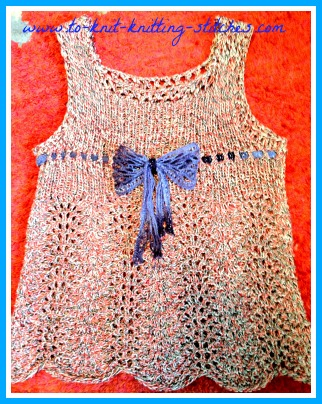 Easy Knit Top Pattern : Feather and Fan Summer Top For Girls - Free Easy Knitting Pattern