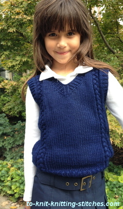 stitch Plait Vest - Free Vest Knitting Pattern for Boys And Girls