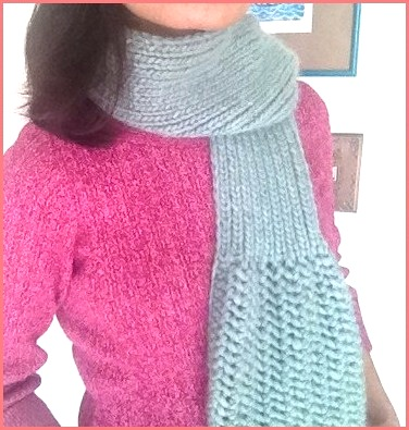 Knit Up Stitches Around Neckline : Lunar Azul - A Stylish Scarf With A Touch Of Lace & Ribbing