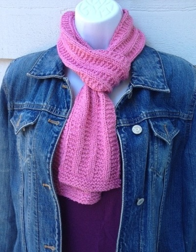 Knitting Rib Stitch Scarf : Pretty in pink scarf very easy for beginners