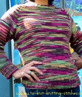hand knitted woman raglan sweater on body