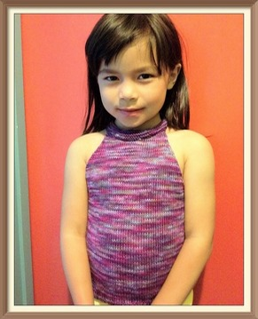 girl knitted tank top front view
