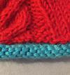 A hat knitted with rolled edge