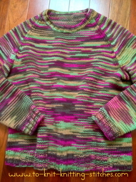 Woman Pullover Raglan Sweater For Beginner - Free Knitting Pattern