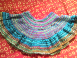 short skirt knitted with sock yarn