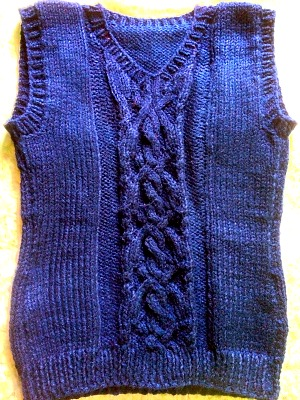 Fancy Cable Knitting Stitches : School Vest With Fancy Cross And Cable Panel - Free Vest Knitting Pattern