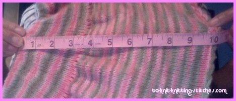 measuring knitted toddler skirt