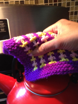 pot holder with purple border