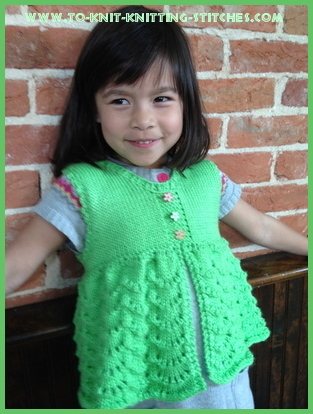scallop vest on a girl free knitting pattern